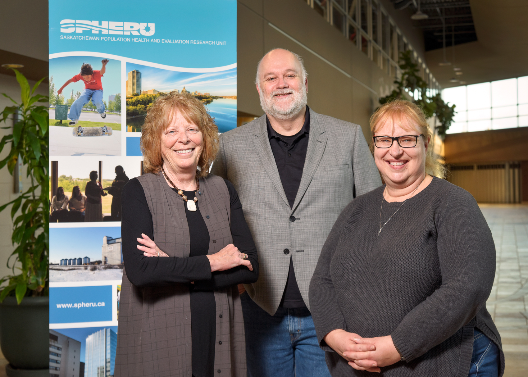 Research team Bonnie Jeffery, Tom McIntosh, and Nuelle Novik received $3 million in federal funding for their dementia-focused research project. (Photo by Trevor Hopkin)