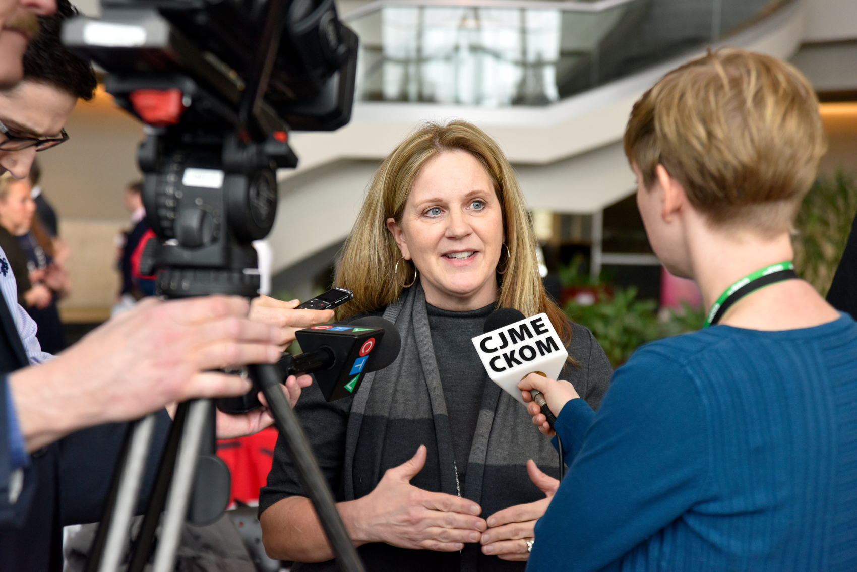 Heather Hadjistavropoulos being interviewed by media following the announcement about the new Public Safety Personnel Internet-delivered Cognitive Behaviour Therapy program. (Photo by Rae Graham)