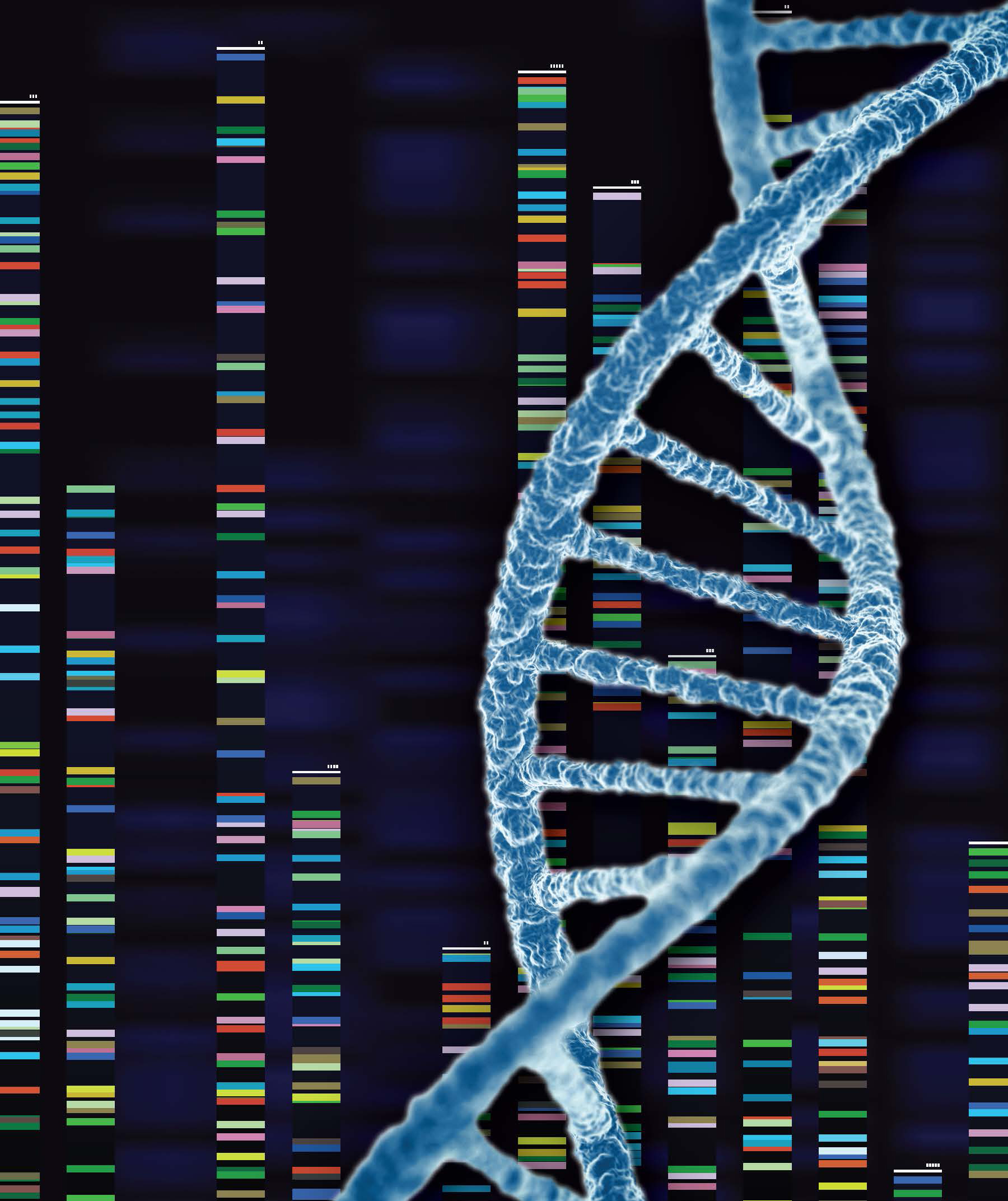 A graphic of a DNA strand and genomic analysis.