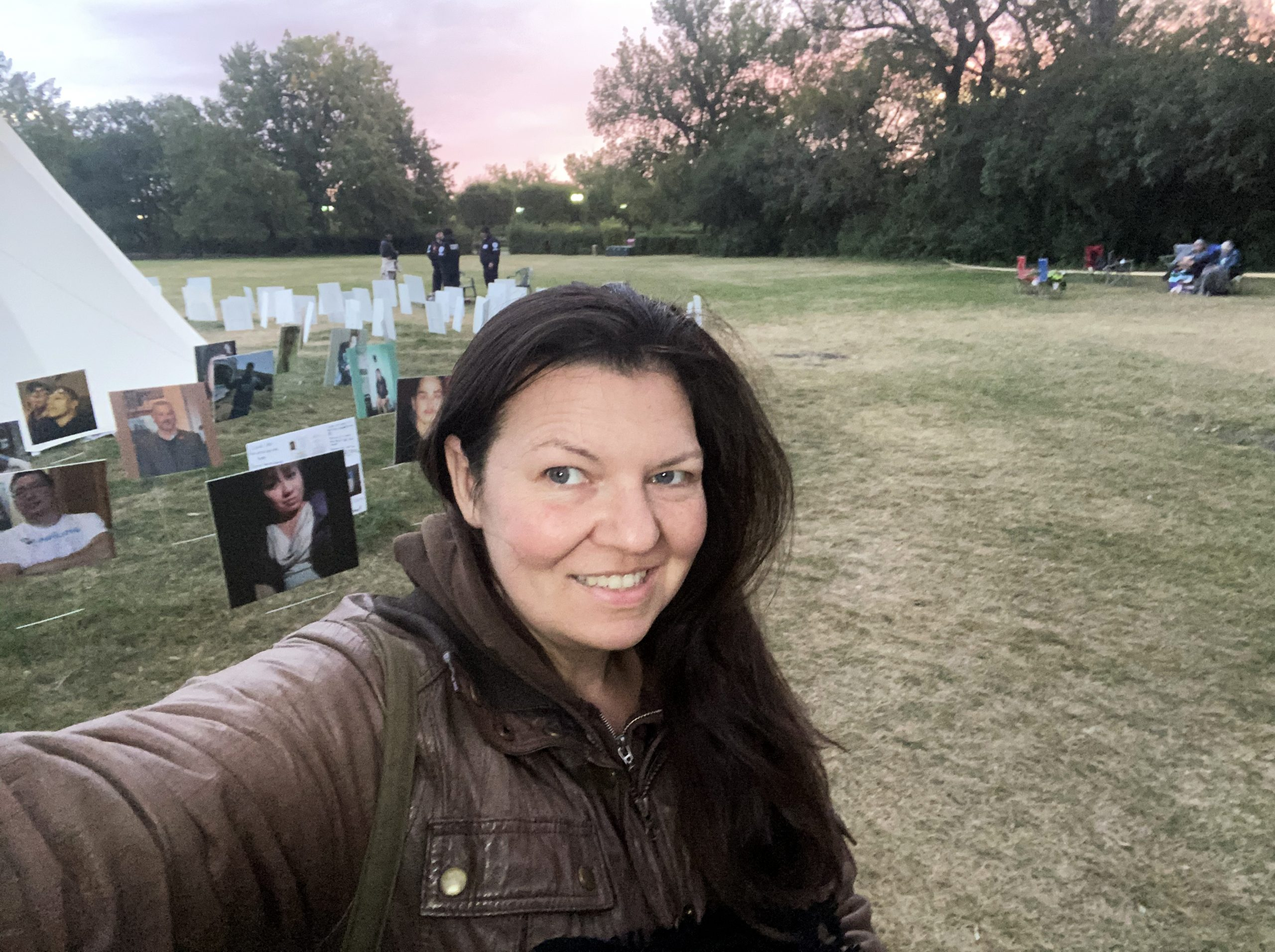 Elizabeth Cooper at the Walking with our Angels teepee camp waiting for a sunrise pipe ceremony to start is support of suicide prevention.