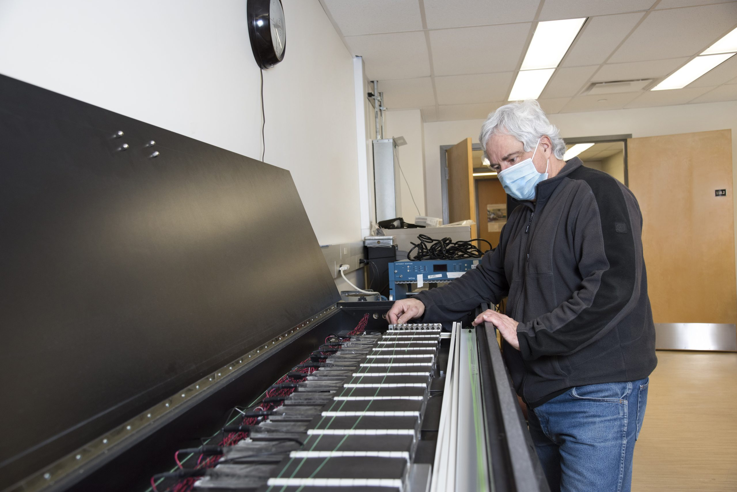 Physicist Dr. Mauricio Barbi in his U of R research and development lab where he and his team are developing components for the Hyper-K project. (Photo by Rae Graham)