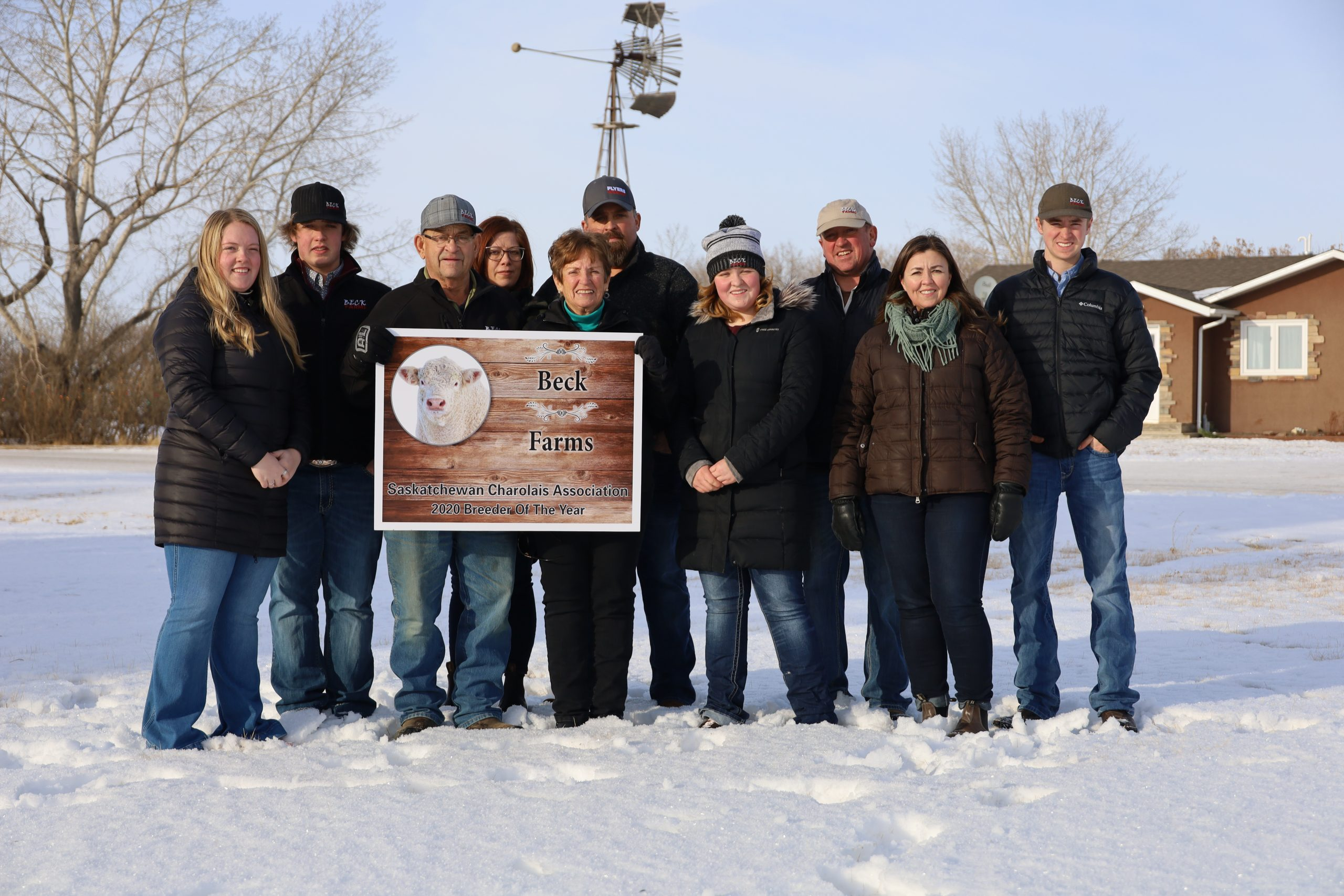 Recipients of the Saskatchewan's Charolais Association's 2020 Charolais Breeder of Year, Beck Farms includes three generations of farmers. (Photo by Tami Beck)