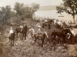A photo from about 1905 of Joni Darke's grandmother Darke riding horseback along the shoreline of Echo Lake. (Photo courtesy of Joni Darke)